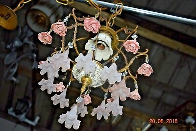 Old Chic French  Roses & Bells  Chandelier 1940/50