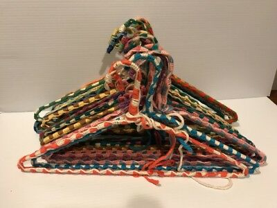 VTG Lot 20  Crochet Covered Wire Hangers Knit Yarn Fabric Handmade Cottage Chic