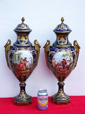 Superb Pair Of French Sevres Style Ormolu Mounted Urns W/ Allegorical Scenes