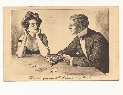 """POSTCARD - Artist Charles Dana Gibson Edwardian comic """" Fortunes with Cards"""""""