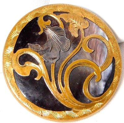 LARGE Antique VICTORIAN Abalone PEARL Shell BUTTON GILT Brass Art Deco LILY