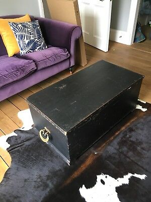 Antique / vintage wood trunk / chest / blanket box with decorative brass handles