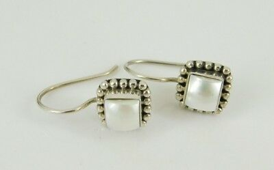 Silpada 925 Sterling Silver Pearl Button Frame Square Earrings W1394