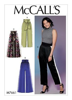 McCall's Sewing Pattern M7661 Misses 14-22 Easy Pants with Panel Tie and Belt