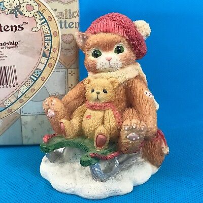 Calico Kittens Hold on to Friendship 651079 Cat on Sled w/ Teddy Bear Figurine