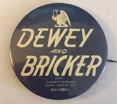 "2 1/2"" Dewey and Bricker Political Campaign Pin to Benefit the Oley Foundation"