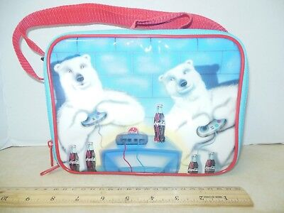 """Coca Cola Polar Bear Soft Sided 9"""" x 7"""" x 2"""" Insulated Cooler 2000 Lunch Bag GC"""