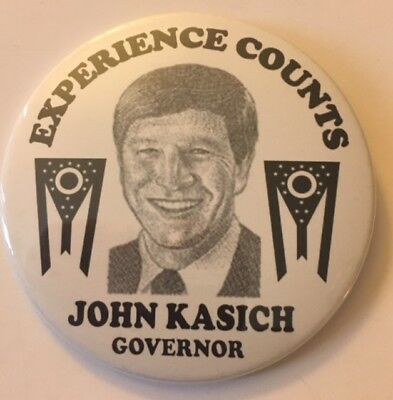 "3"" Experience Counts John Kasich for Governor (Ohio) Campaign Pin for Charity"
