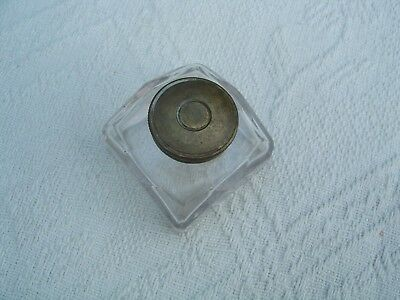 Small Antique Glass Inkwell For Writing Box / Slope