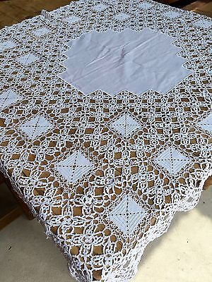 """Vintage Hand Made Heavy Crochet Lace Tablecloth 42"""" Square- Perfect Condition"""