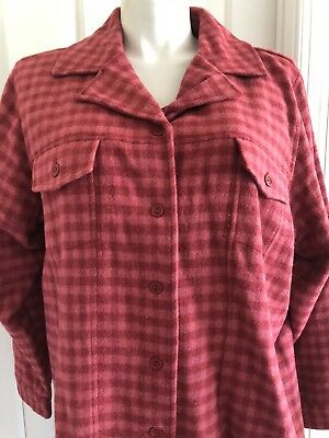 DENIM & CO Women's Button Down Front Jacket Coat Checked Wool Blend Size 3X