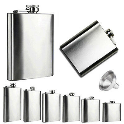 EP_ 4 5 6 7 8 10 oz Stainless Steel Hip Liquor Alcohol Flask Cap + Funnel Free S