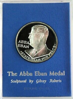 1967 Aba Eban Statesman Sterling Silver Medal By Mint Engraver Gilroy Roberts