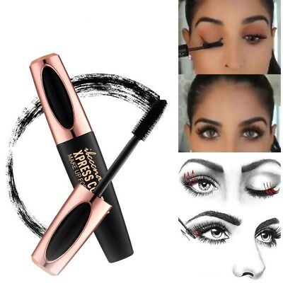 UK Waterproof 4D Silk Fiber Lash Mascara Eyelashes  Extension Long Last Make-Up