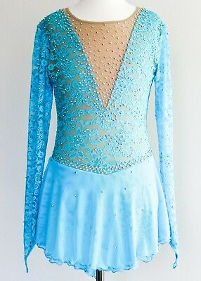 BRAND NEW Exquisite Figure Skating Dress Girls X-Large W/Crystals