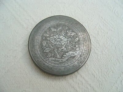 Antique / Vintage Chinese Engraved Pewter Lid For Caddy / Pot