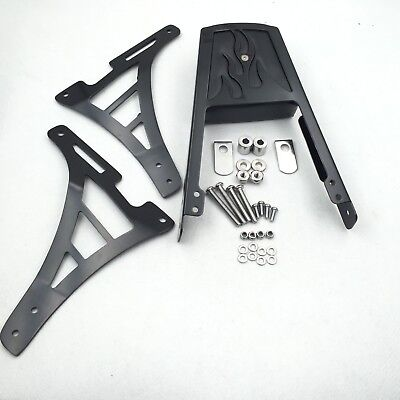 Black Flame Backrest Sissy Bar with Leather Pad For Harley Sportster 1200 883