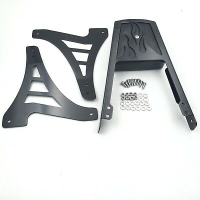 Black Flame Backrest Sissy Bar With Leather Pad For Harley Sportster 883 1200