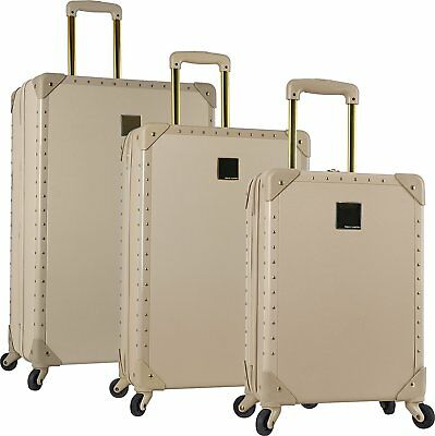 New Vince Camuto Latte Jania 3Pc Luggage Set Spinner Wheels Gold Studs $1080