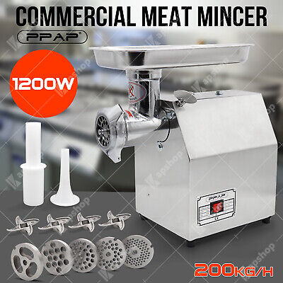 1.63HP Commercial Meat Mincer - Electric Grinder &Sausage Maker Filler Stainless