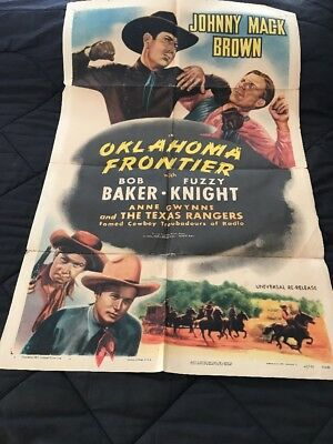 1947 Universal Re-Release One Sheet Poster OKLAHOMA FRONTIER Johnny Mack Brown