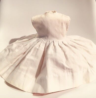 "Vintage 50s 22"" Kelly tagged Madame Alexander doll dress White sleeveless"