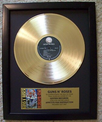 Guns N' Roses Appetite Gold plated LP Record + Mini Album Not a Award + Plaque