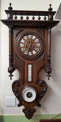 Antique French Carved Wooden Wall Clock with Barometer & Thermometer