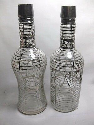 Pair Of Vintage Antique 19th C Silver Overlay Backbar Decanter Pontil