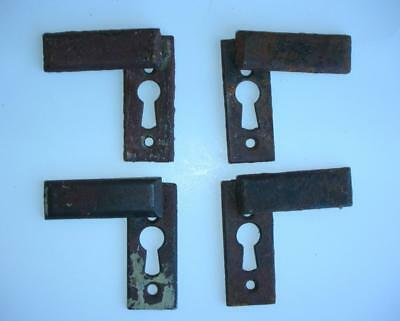 4 Antique Iron Door Key Hole Plates With Swing Covers Escutcheon Door Hardware