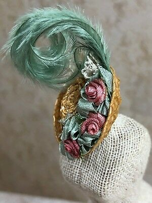 Vintage Miniature Dollhouse Straw Hat Signed Ostrich Feather Silk Rosettes Lace