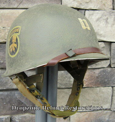 WWII 17th Airborne Helmet Front Seam Westinghouse Paratrooper Liner Aid Kit Net
