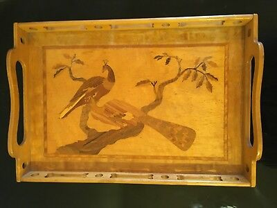 Beautiful Vintage Wooden Tray w/Inlaid Peacocks