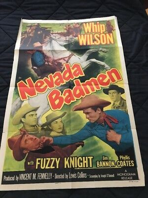 1951 One Sheet Poster from NEVADA BADMEN starring WHIP WILSON