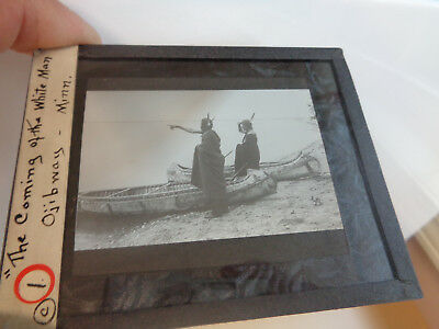Early Glass Slide-Ojibway Indians with Canoes Minnesota