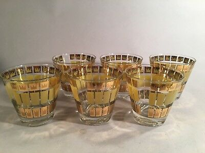 Set of 6 Mid Century Modern Fred Press Rock Glasses Tumblers, Basquiat Crown