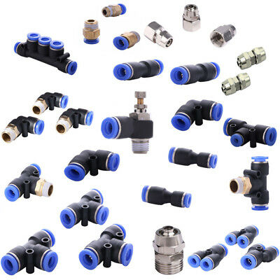 Quick Push Pneumatic Air Adapter Gas Fittings Connector Tube Hose