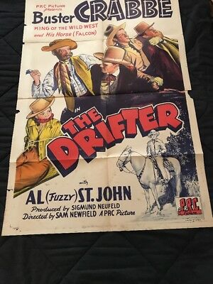 1943 BUSTER CRABBE Movie One Sheet of THE DRIFTER  with Al (Fuzzy) St. John