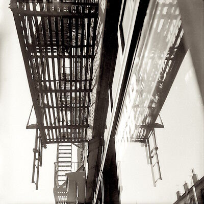 1950s photo Negative NYC Fire NO Escape Abstract STREET Scene snap by CHAZEN