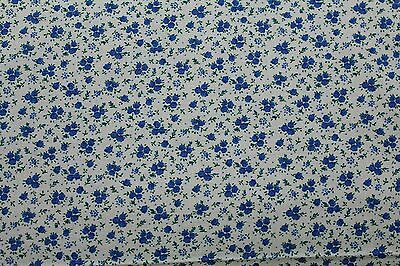 flowers green leaves ~ BTY 100 /% Cotton fabric ~ Cream with blue