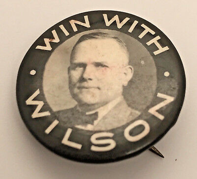 Antique WIN WITH WILSON Woodrow Wilson POLITICAL Campaign BUTTON Pinback PIN nr