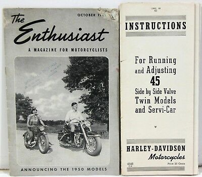 2 Harley Davidson Bklts 1940-50s – The Enthusiast 10-1950 & Instructions 45 Twin