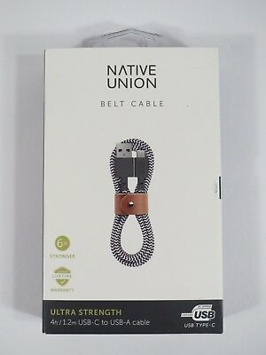 New! Native Union - 4ft/1.2m USB Type C-to-USB Device Cable - Zebra
