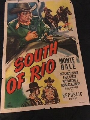 1949 Movie Poster One Sheet SOUTH OF RIO with MONTE HALE and Kay Christopher