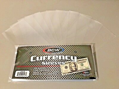 10 Regular Bill Currency Sleeves Topload Money Holders Archival Store Protect