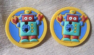 SET OF 2 unusual COLORFUL YELLOW ROBOT CHILDRENS? RUBBER BUTTONS -- 1 inch