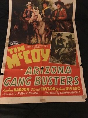 1940 Movie One Sheet Poster starring TIM MCCOY in Arizona Gang Busters