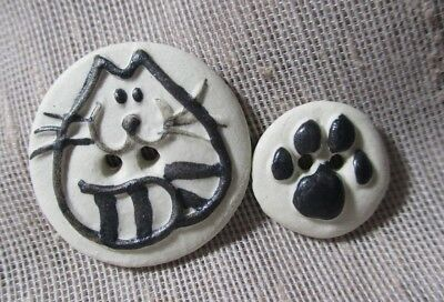 Vintage Hand-Made Cat & Cat Paw Buttons Made In S. Africa