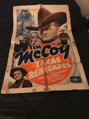 1940 One Sheet Poster from Texas Renegades starring TIM MCCOY
