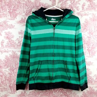 Circo Hoodie Youth Size XL 16 Full Zip Green Gray Striped Long Sleeve